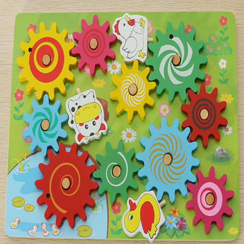 2017 New Design Animals Gears Games Portfolio Bricks Wooden Educational Toys Children Montessori Material Learning Kids Toys 24styles colorful kid wooden animals cartoon picture puzzle educational toys games for children new year gifts tf0129