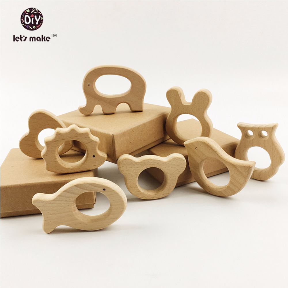 Lets Make Baby Teether 8pcs Wood Nursing Teether Baby Teething Toy Teething Holder Toys Diy Gifts Wooden Chew Shower Gift