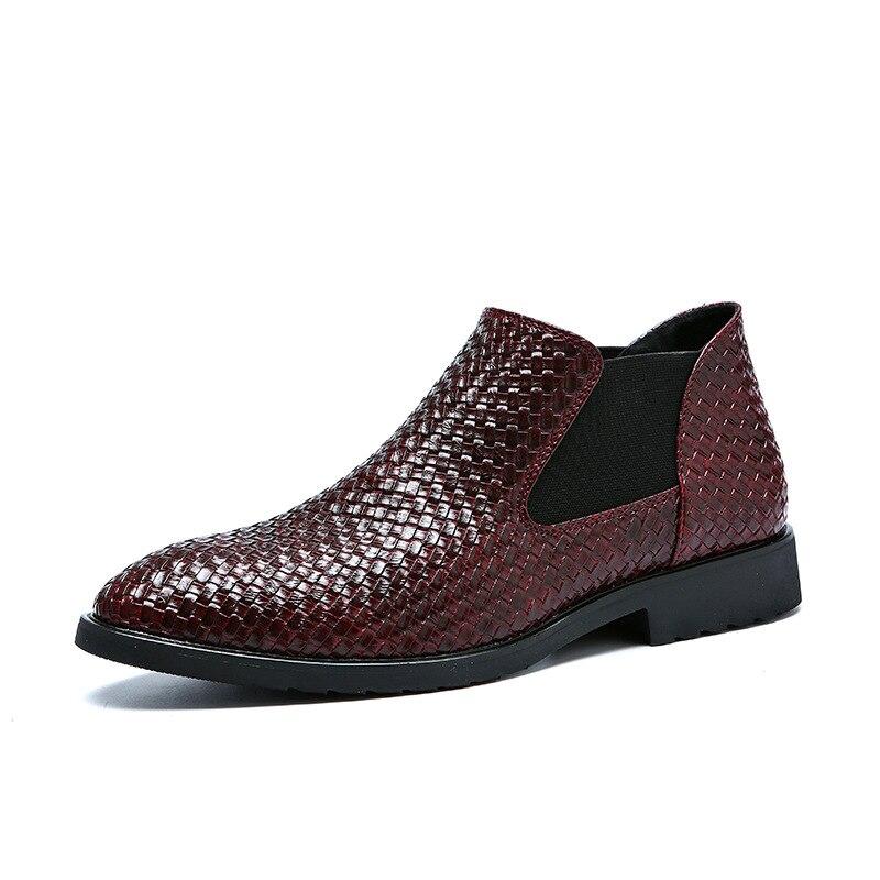 Casual Robe Chaussures 3844 rouge Mode Hiver Oxford Bottes Weave Printemps Noir Style Automne Cheville Hommes Nouveau Formelle Chelsea bleu marron srChQxtdBo