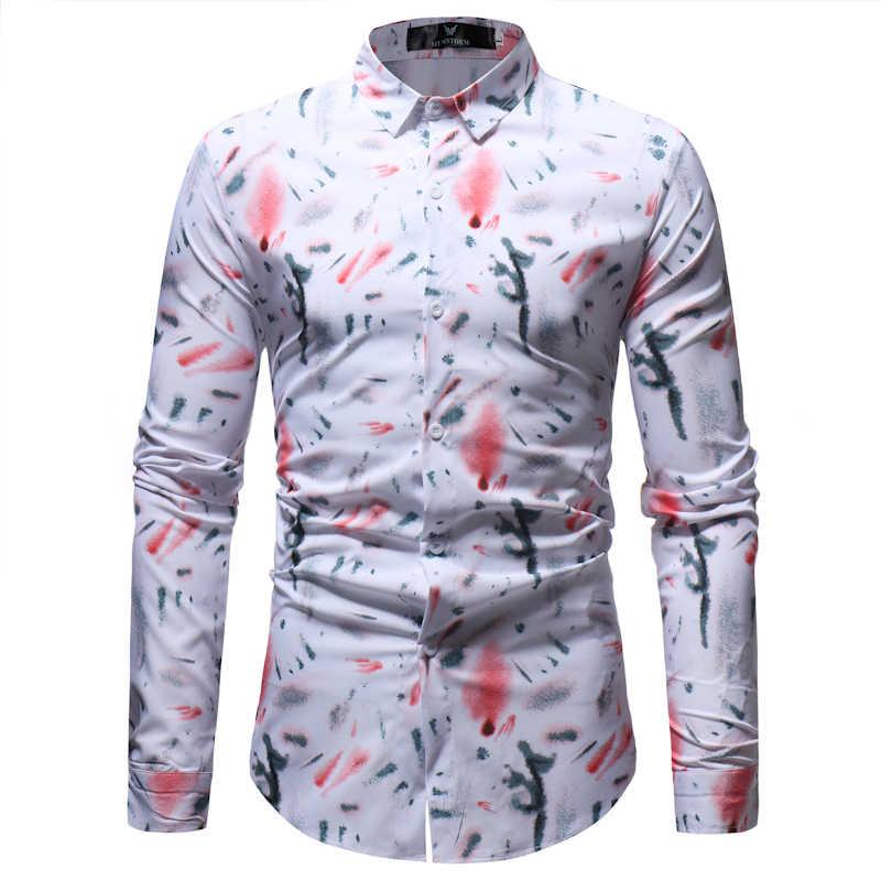 メンズカジュアルドレスシャツ 2018 春秋の新スリムフィット長袖花柄シャツの男性ブランドソーシャルシャツ男性シュミーズオム 3XL