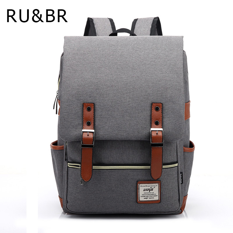 RU&BR Fashion Women Bags Canvas Backpack Men Oxford Travel Leisure  Backpacks Retro Casual Backpacks School Bags For Teenagers