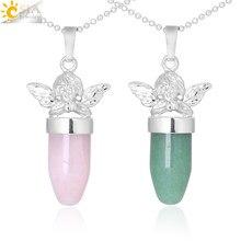 CSJA – collier avec pendentif petit ange pour femmes, livraison gratuite, bijoux en forme de balle, pierre naturelle, pendentif suspendu, F361
