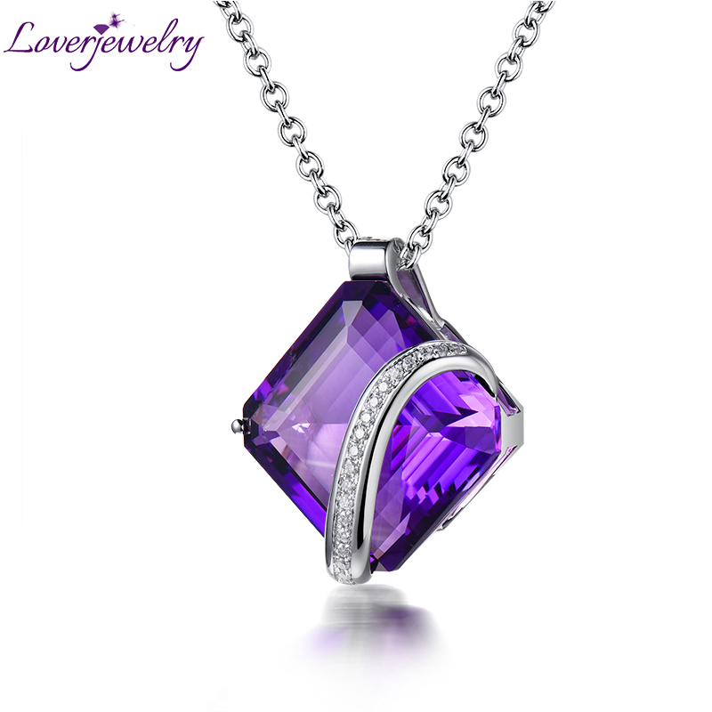 100% Genuine Diamonds Natural Amethyst Gemstone Pendant Jewelry For Women Anniversary Necklace Pendants Jewelry Without Chain цены