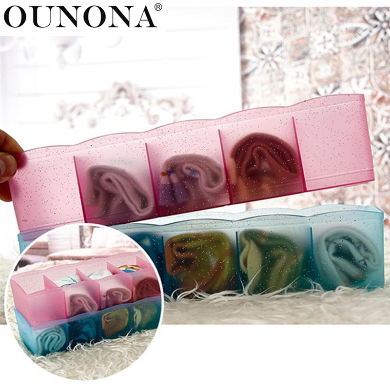 OUNONA Five Grids Plastic Underwear Socks Ties Separator Organizer Case Desk Drawer Closet Organizer Storage Box