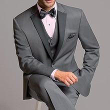 Nueva Grey pico solapa esmoquin para novio padrino hombres traje de 3 piezas de último diseño novio Blazer (chaqueta + pantalón + chaleco + corbata)