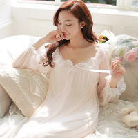 New Arrivals Autumn Sleepwear Solid Ladies Dresses Princess Long Sleeve Nighties Modal Lace Indoor Clothing Sexy Nightgowns