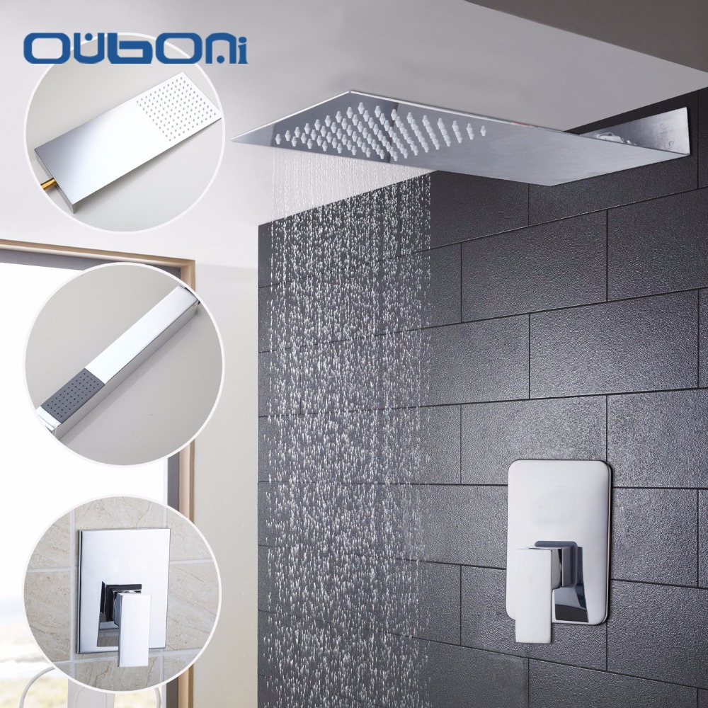Contemporary Rainfall Shower Head Luxury Wall Mounted Square Style Brass Waterfall Shower Set Factory Direct New Bathroom Shower
