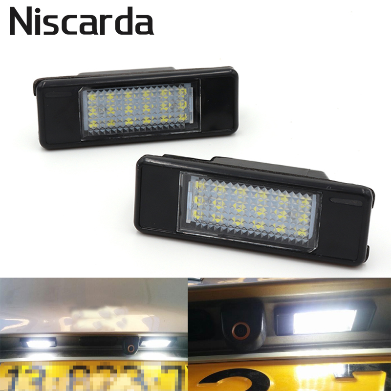 Niscarda 2Pcs Car <font><b>LED</b></font> License Plate Lights <font><b>Lamp</b></font> Error Free for <font><b>Peugeot</b></font> 106 107 1007 207 <font><b>308</b></font> 406 Citroen C2 C4 Hatchback DS3 image