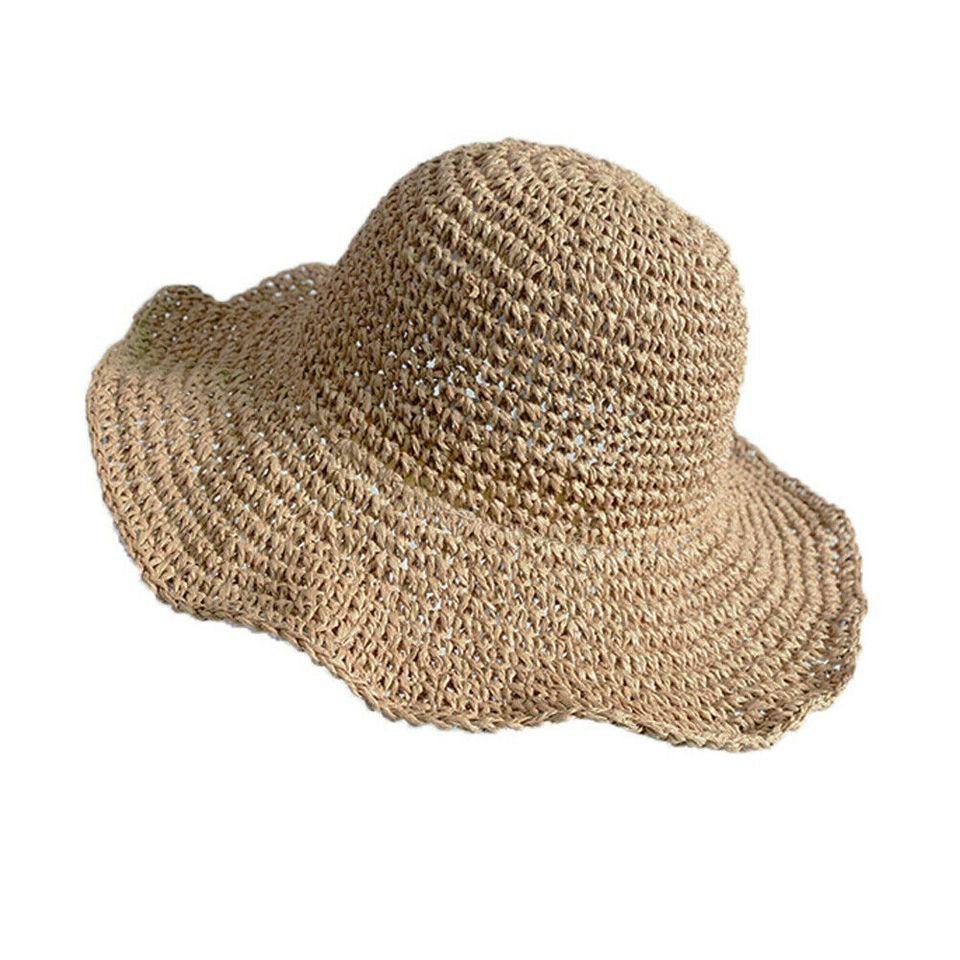 5f7855025 Hot Summer Hoilday Floppy Straw Hat Women Ladies Wide Brim Beach Foldable  Bow Flower Straw Sun Hat Sun Cap One Size Wide