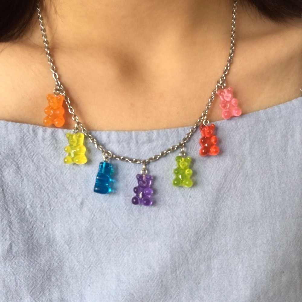 Handmade 7 Colors Cute Judy Cartoon Bear Stainless Steel Necklace, Candy Color Pendant For Women&Girl Daily Jewelry Party Gift