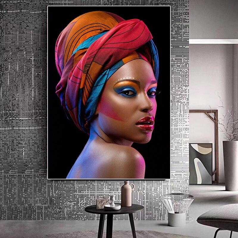 Картина на холсте с изображением черной обнаженной Африканской женщины красных губ, постеры и принты в скандинавском стиле, картина на стен...