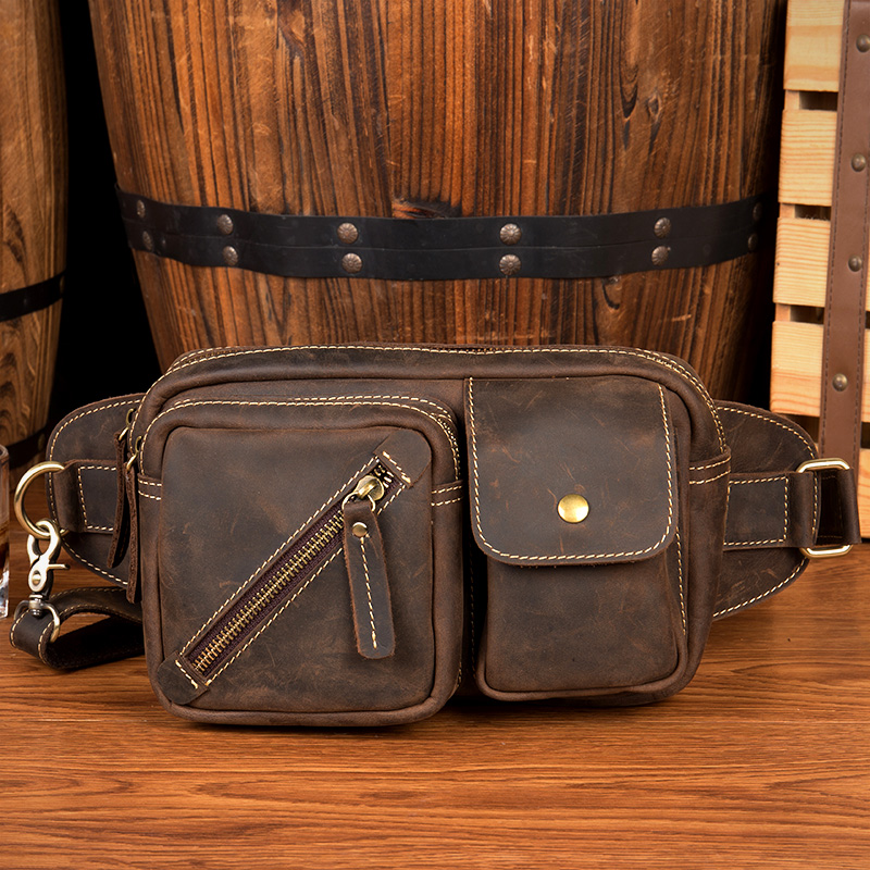 Genuine Leather waist pack Men bag brown Belt bag fanny pack men bum bag Male waist pouch hip bag Multi -function Riding pouch