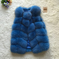 Bienes Fox Chaleco de Piel de Las Mujeres 2015 de Invierno Nueva Moda Adelgaza Medio larga Genuino Natural Mink Fur Chalecos Mujer Casacos Mex Poncho de la Piel