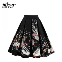 Iiiher Wome Vintage Floral Print Pleated Skirt Black Short Midi Casual Rockabilly Party 2017 Summer Office