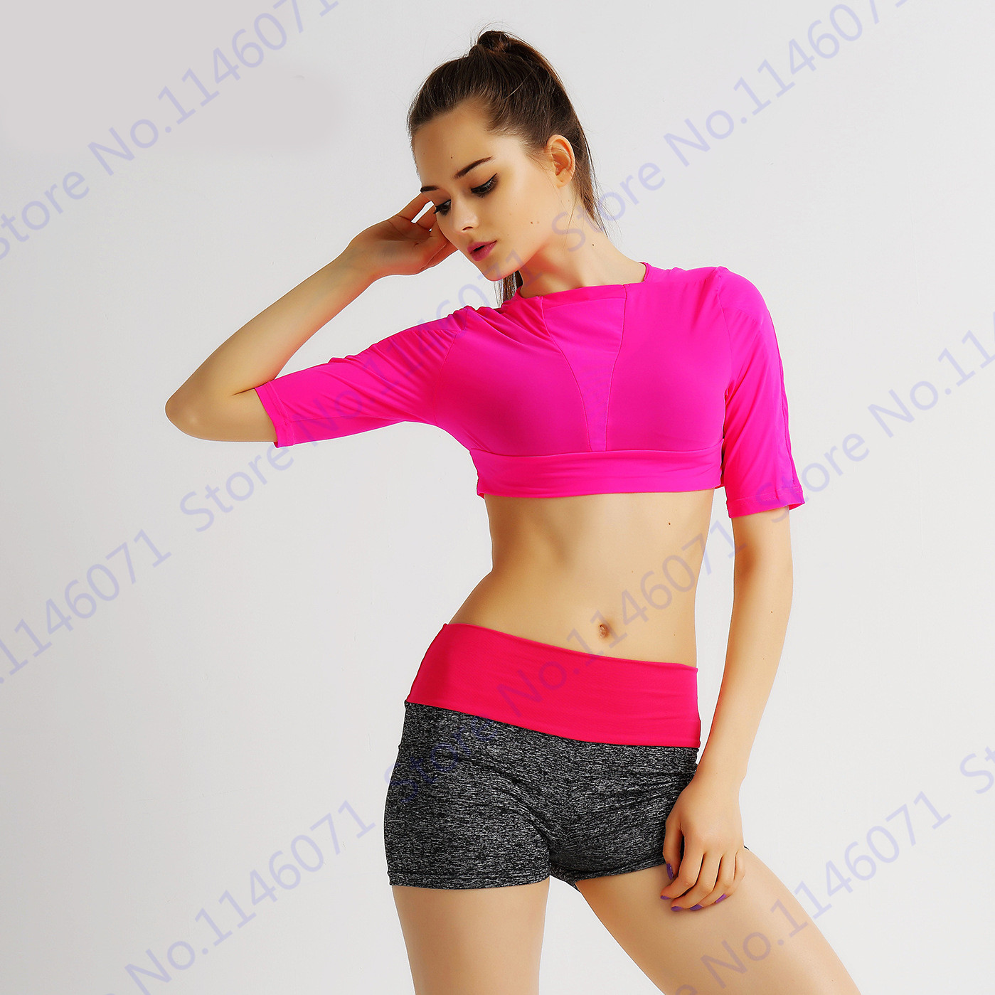 8f38c6fa2a5 Rose Red Running Shirts Cropped Top Pink Peach Fitness Crop Top Candy Color  Sports Shirt Half Sleeved Yoga Shirt Ladies-in Yoga Shirts from Sports ...