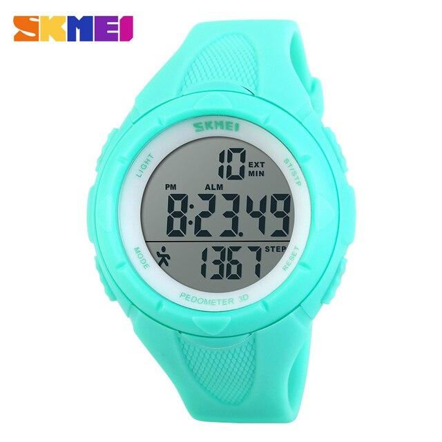 SKMEI шагомер Для женщин Цифровые Наручные часы LED здоровья Спортивные часы Водонепроницаемый Обувь для девочек для подарка сигнализации Chrono Календари часы 1108