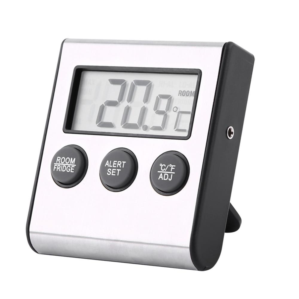 Digital Refrigerator Freezer Thermometer Alarm High Low Temperature Lcd