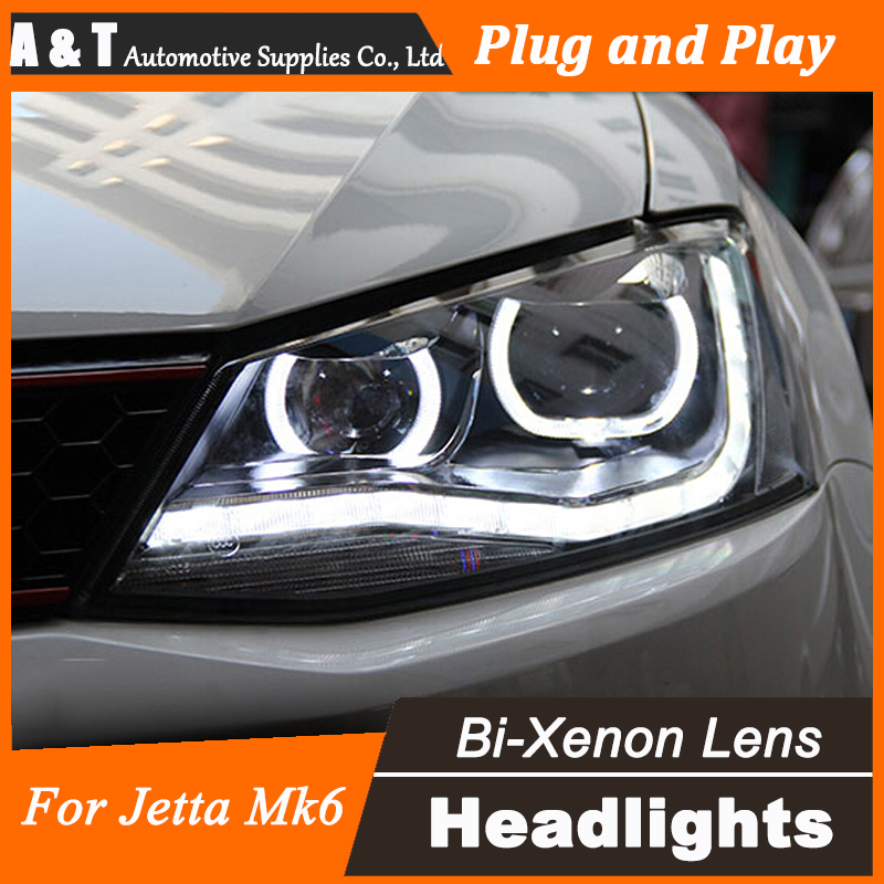 Car Styling for 2011-2015 VW Jetta Headlights New Jetta LED Headlight Cruiser drl Lens Double Beam H7 HID Xenon car styling vw jetta headlights 2011 2014 jetta mk6 led headlight volks wagen new jetta drl h7 hid q5 bi xenon lens low beam