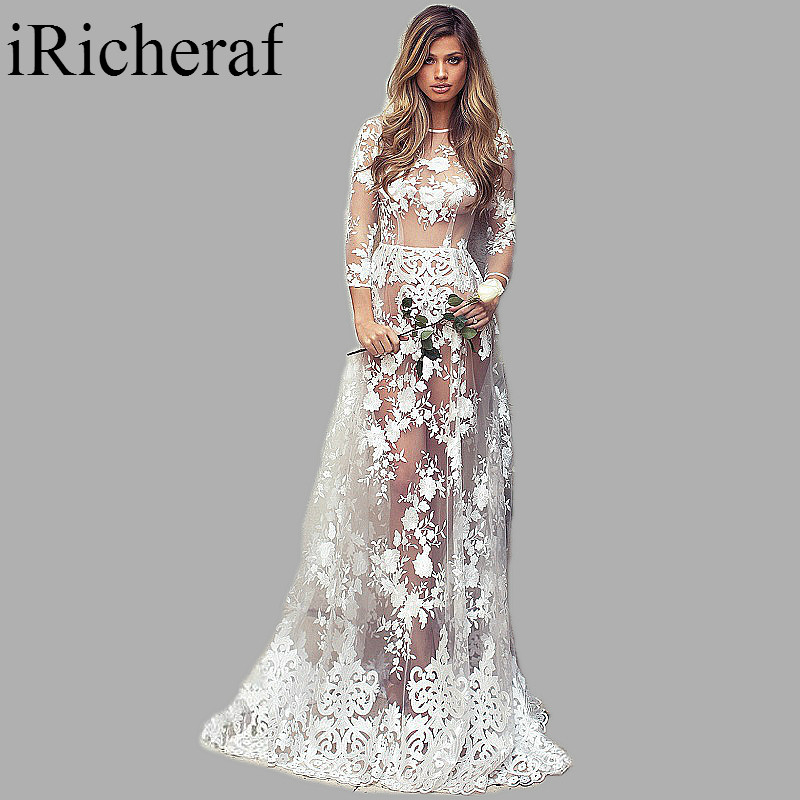 long sleeve maxi dress white lace o neck perspective