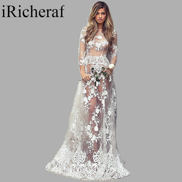 Long Sleeve Maxi Dress White Lace O neck Perspective ...