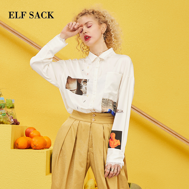 ELF SACK 2019 Spring Oversized Shirts Woman Casual Knitted Full Print Women Blouse Turn down Collar