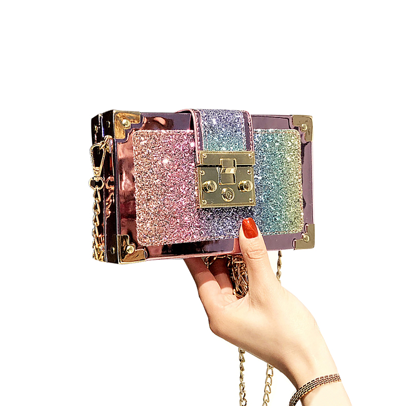 Fashion Designer Sequined Summer Women Messenger Bag Female Bling Bling Box Bag Cute Chain Shoulder Crossbody Bag Girl Handbag