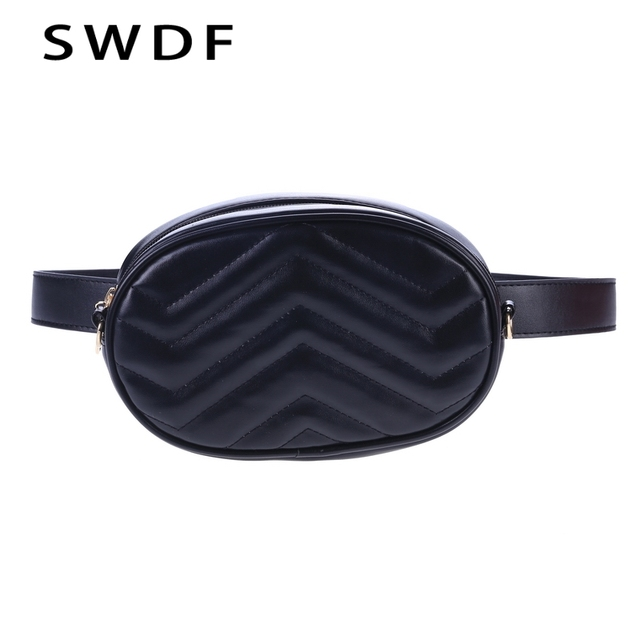 SWDF 2018 New Bags Women Pack Waist Bag Women Round Belt Bag Luxury Brand Leather Chest Handbag Fanny Packs Shoulder Bag Purse