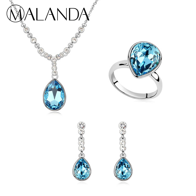 MALANDA New Water Drop Crystal From Swarovski Necklace Drop Earrings Ring Set For Women Fashion Jewelry Sets Wedding Accessories a suit of charming faux crystal water drop necklace bracelet and earrings for women
