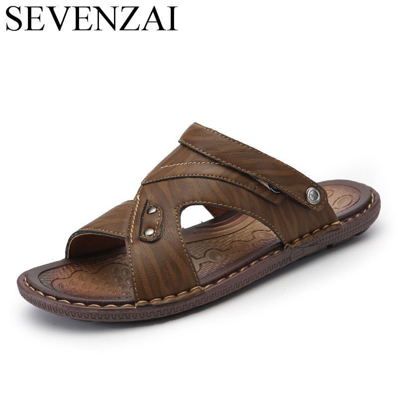 summer male breathable beach sandals men shoes luxury brand leather fomal footwear italian designer slide casual shoes for men