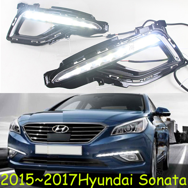 Car Styling Sonata Daytime Light 2017 Chrome Led Free Ship 2pcs Detector Fog Covers Headlight