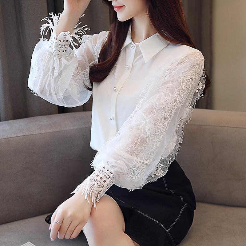 Fashion Women tops and Blouses 2019 Long Sleeve Shirt Women Chiffon Blouse Shirt Solid White OL Blouse top female Blusas 1145 40 Women Women's Blouses Women's Clothings cb5feb1b7314637725a2e7: White