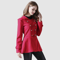 Autumn Red Coat Women Fashion Double Breasted Round Neck Slim Woolen Coats Female Blend Solid Warm Elegant Girl Short Jacket