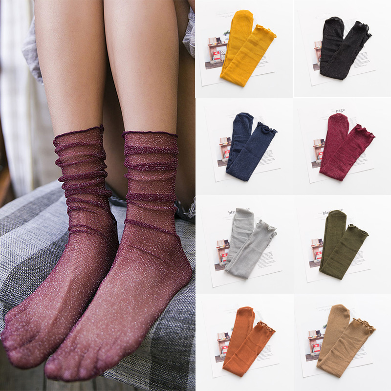 LNRRABC 2018 Sexy Lace Mesh Middle Tube Summer Women Girl   Socks   Elastic Fashion Lady Soft Loose   Socks   Hosiery Wholesale