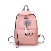 Fashion New Women Canvas Backpack Teenager Cute Hairball Ribbon Students School Bag Girls Large Capacity Shoulder Travel Bag B82