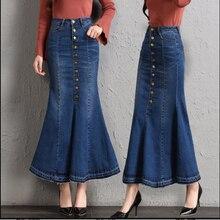 57a0cd887f Más tamaño Fit 9XL mujeres moda Denim faldas primavera invierno solo pecho  Jeans falda estudiantes de alta cintura pescado cola .