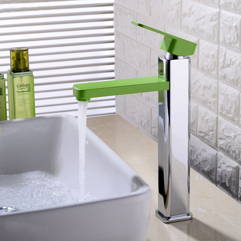 DHL Square Chrome Finished Hot and Cold Water Basin Faucet Mixer green Single Handle Bathroom Faucet Tap Deck Mounted KF927 new arrival matte black or oil rubbed bronze or chrome tap basin cold and hot fashion square single hole bathroom faucet