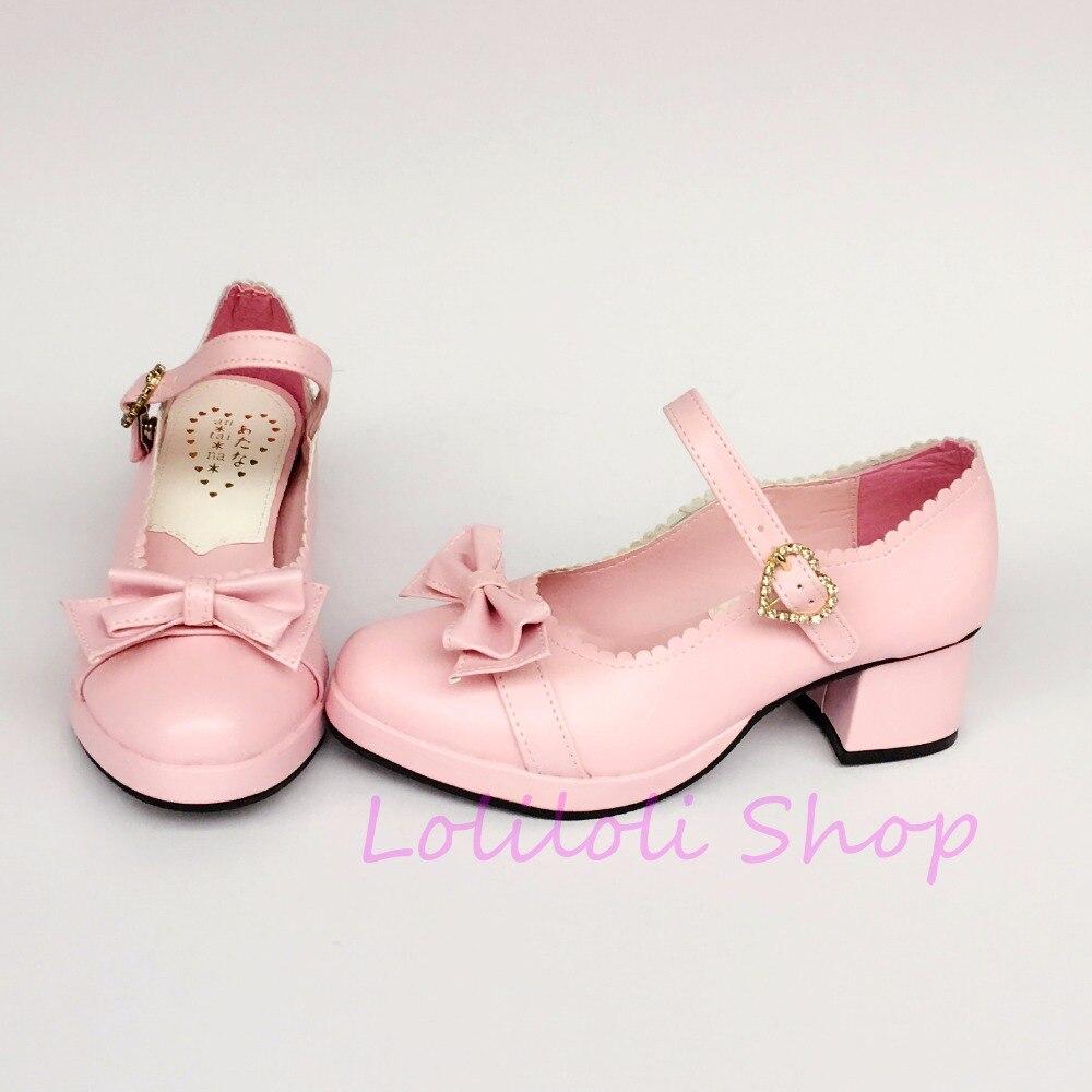 Princess sweet punk shoes loliloli yoyo Japanese design custom big size pink bright skin buckle strap kitten heels a519
