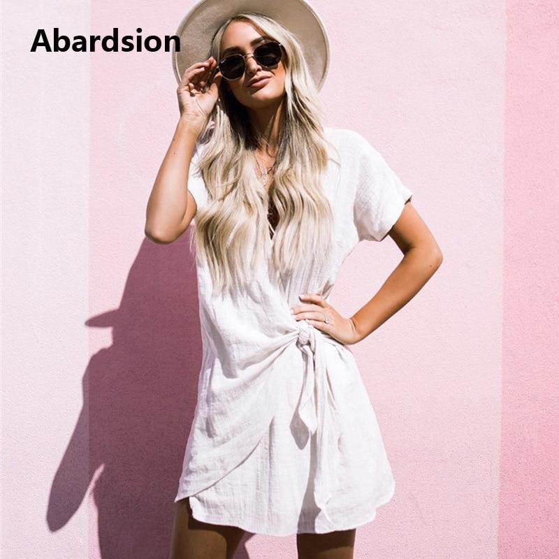 Abardsion Women Cotton Linen Dress Elegant New Arrivals 2019 Summer Beach Short Sleeve V Neck Twist Knotted Wrap Dress