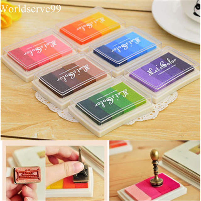 10pcs Oil Based Rainbow Ink Pad Draw DIY Paper Wood Fabric Rubber Stamp Scrapbook Albums Card