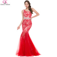 Elegant One Shoulder Long Evening Dress Mermaid Prom Dresses Scalloped Embroidery Lace Red Black Formal Gown