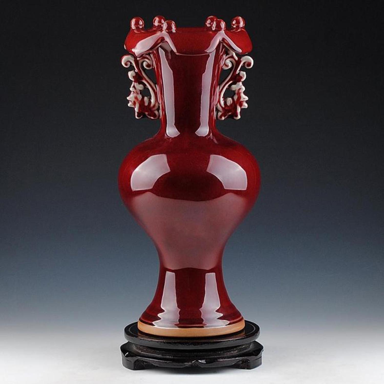 China Jingdezhen The traditional handicrafts Binaural Lotus mouth Red vase