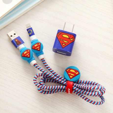 Nuevo juego de protectores de Cable estilo héroes Superman con enrollador de Cable y pegatinas de dibujos animados Protector de Cable espiral para iphone 4 5 6 7