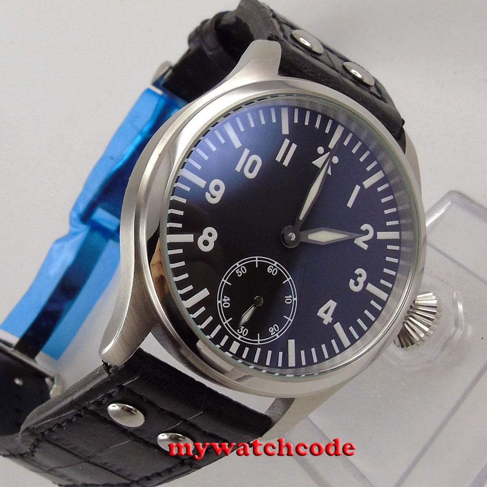 47mm parnis black dial blue luminous 17 jewels 6498 hand winding mens watch P287 44mm parnis black dial luminous marks seagull 6498 hand winding mens watch