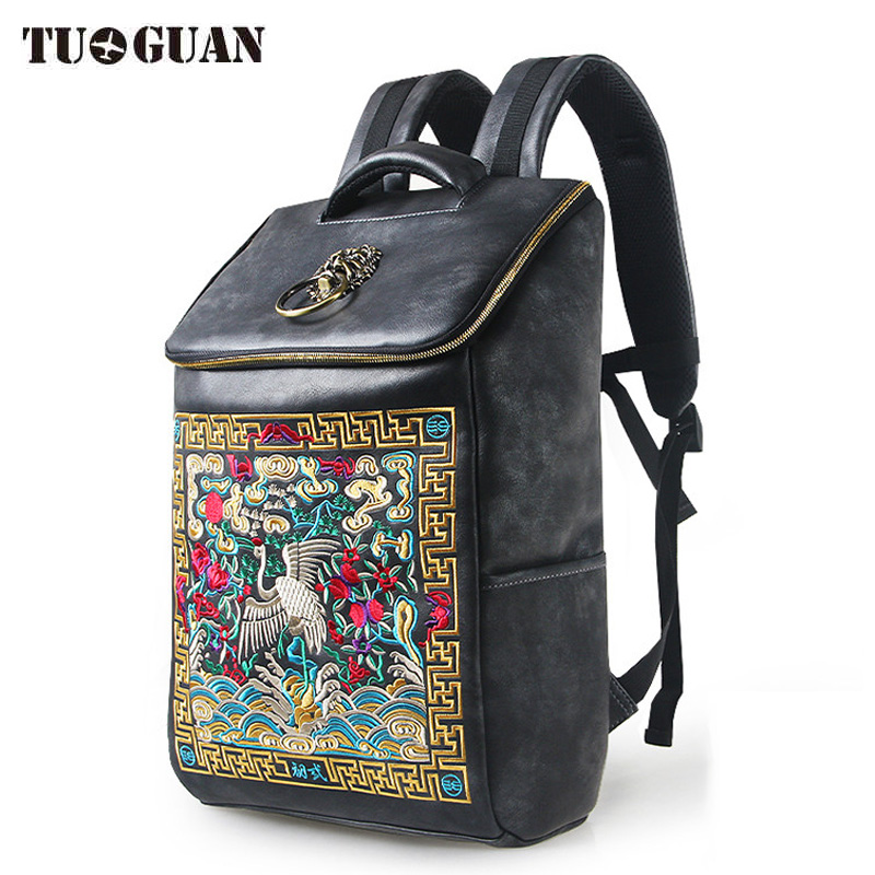 Chinese Famous Brand Luxury Designer Waterproof Men/Women Vintage Backpack School Bag Embroidery Laptop Back Pack Bagpack tinyffa small multifunction genuine leather backpack women back pack girl school bag famous brand designer black bagpack 2017
