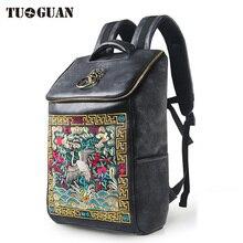 Фотография Chinese Famous Brand Luxury Designer Waterproof Men/Women Vintage Backpack School Bag Embroidery Laptop Back Pack Bagpack