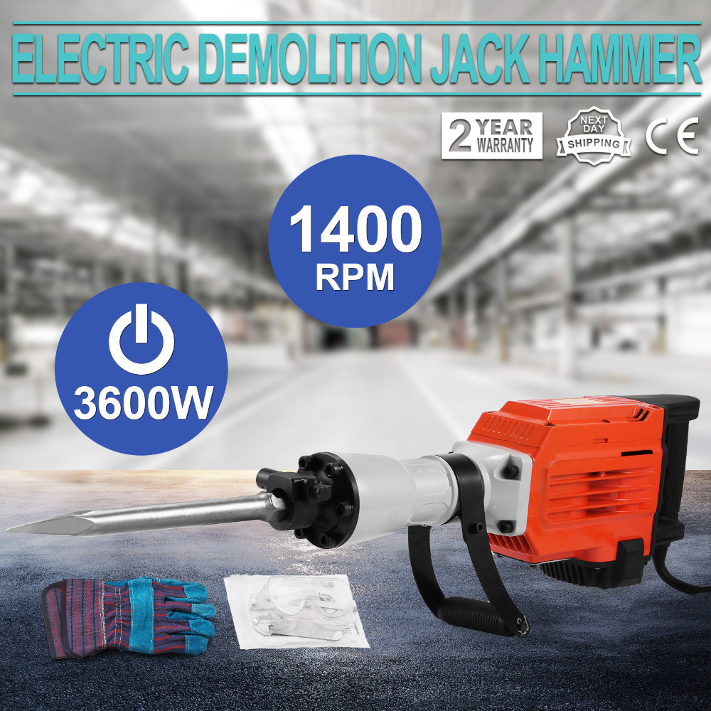 3600W Electric Demolition Jack Hammer Concrete Breaker Punch 2 Chisel Bit w/Case цена