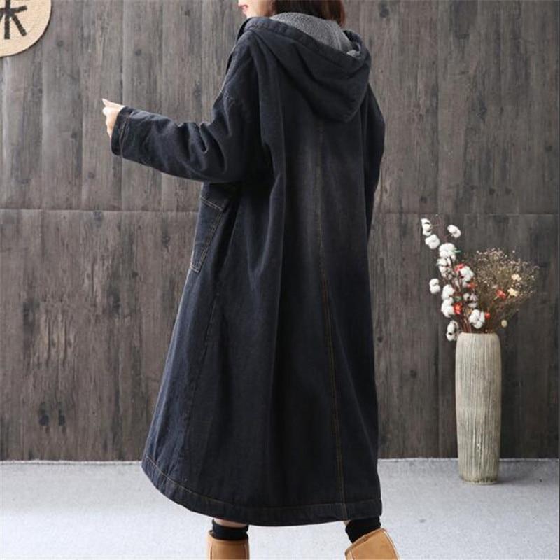 De Plus Lâche Capuchon Long Manteau Black Velours Femmes Taille 2018 Épais Veste G881 Coton À D'agneau Super Nouvelle En Hiver Grande Laine Denim qnYw0