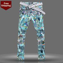 Spring fashion printed men jeans colored drawing pant slim denim trousers male straight personalized famous clothing