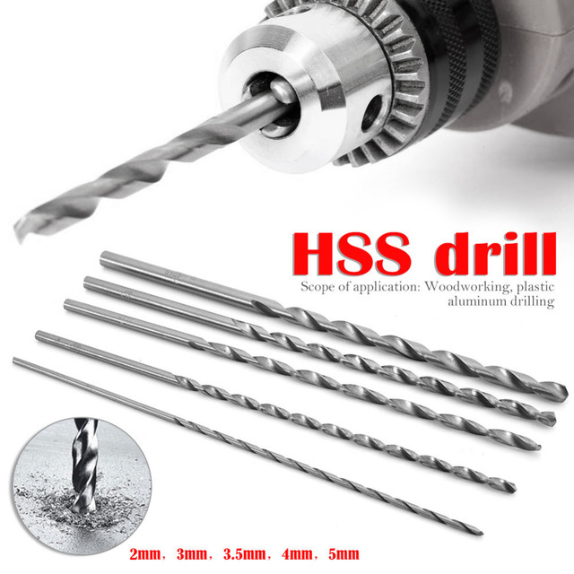5Pcs Extra Long 150mm HSS Twist Drill 2mm 3mm 3.5mm 4mm 5mm Straigth Shank Auger Wood Metal Drilling Tool