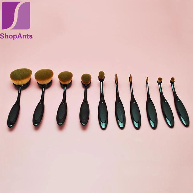 10 pçs/lote Fibra De Lã de Beleza Maquiagem Ferramentas Escova De Dentes Em Forma de Poder Fundação Maquiagem Creme Oval Puff Escovas